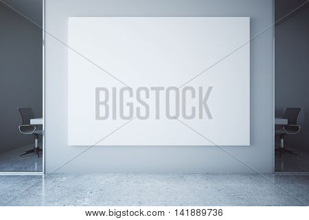 Office interior with blank billboard on concrete wall. Mock up 3D Rendering