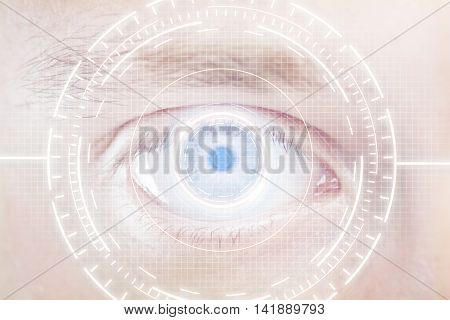 Closeup of human eye with digital white interface