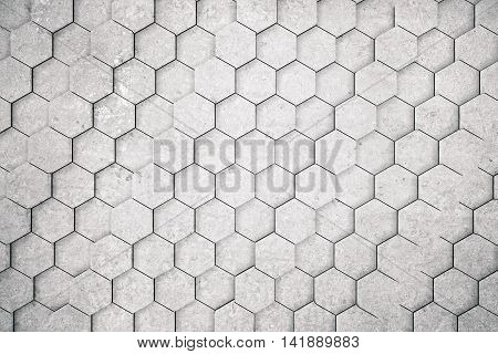 Concrete honeycomb/hexagon pattern background. 3D Rendering. Close up.