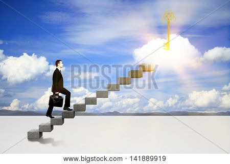 Success concept with businessman climbing ladder to abstract illuminated key on cloud. Sky background