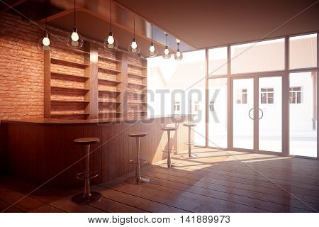 Side view of bar interior with wooden counter stools shelves on brick wall background glass door with street view and sunlight. 3D Rendering