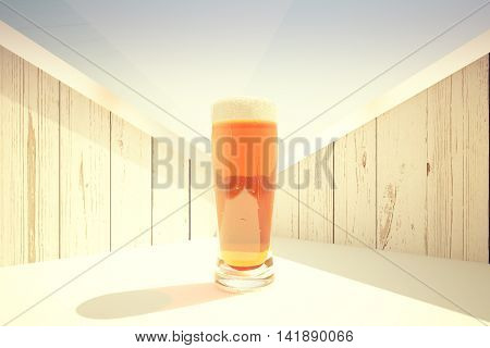 Closeup of full beer glass on abstract wooden background. 3D Rendering