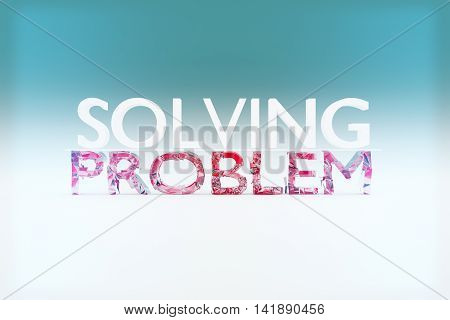 Problem solving concept with shattered text on light background. 3D Rendering