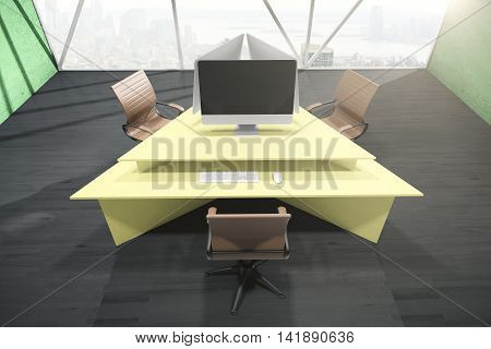 Office interior with abstract yellow triangular table three swivel-chairs blank computer monitor and city view with daylight. Mock up 3D Rendering