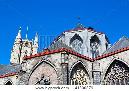 St Bavo's Cathedral partial view in popular touristic destination Ghent, Belgium