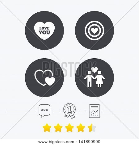 Valentine day love icons. Target aim with heart symbol. Couple lovers sign. Chat, award medal and report linear icons. Star vote ranking. Vector