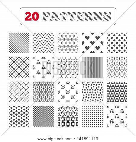 Ornament patterns, diagonal stripes and stars. Valentine day love icons. I love you ring symbol. Couple lovers sign. Love story speech bubble. Geometric textures. Vector