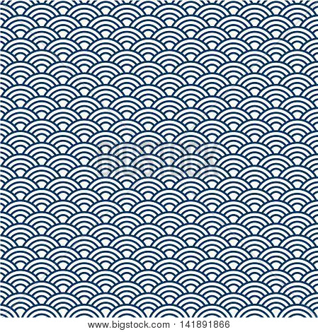 Illustration of navy blue japan pattern background