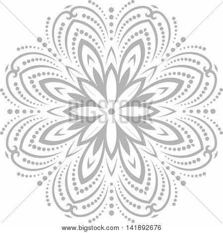 Oriental pattern with arabesques and floral elements. Traditional classic pattern. Retro style pattern. Gray pattern. Round pattern. Silver round pattern. Light silver pattern