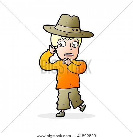 cartoon scared boy in hat