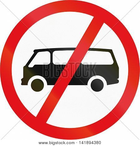 Road Sign Used In The African Country Of Botswana - Mini-buses Prohibited