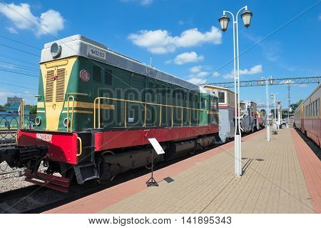 MOSCOW, RUSSIA - JUNE 23, 2016: Museum of Railway Transport of the Moscow railway Diesel locomotive CHME2 series (Czechoslovak Shunting with electric transmission) CHME2-120 built in 1961
