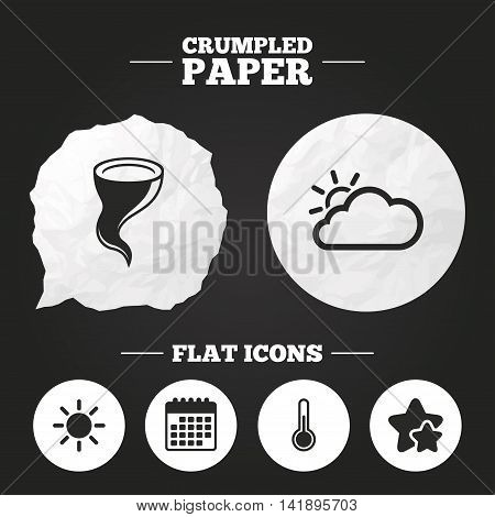 Crumpled paper speech bubble. Weather icons. Cloud and sun signs. Storm symbol. Thermometer temperature sign. Paper button. Vector