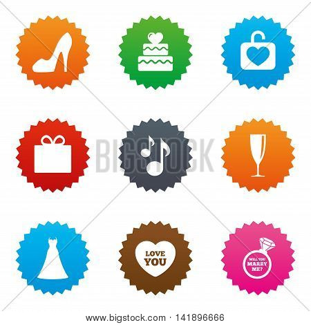 Wedding, engagement icons. Cake with heart, gift box and brilliant signs. Dress, shoes and musical notes symbols. Stars label button with flat icons. Vector