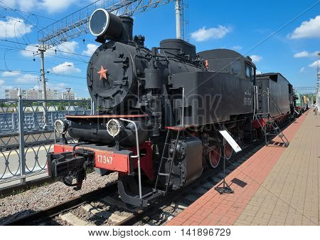 MOSCOW, RUSSIA - JUNE 23, 2016: Museum of Railway Transport of the Moscow railway soviet Industrial steam locomotive 9P-17347 was used for shunting operations built in 1953