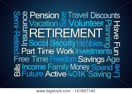 Retirement Word Cloud on Blue Background
