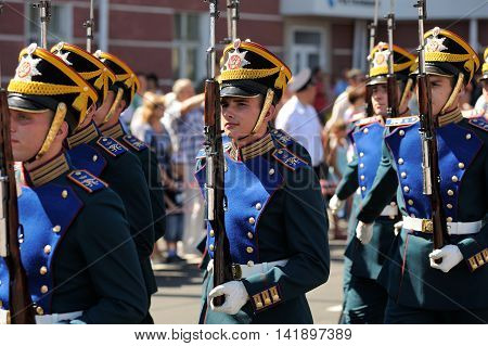 Orel Russia - August 05 2016: Orel city day. President regiment guards marching in full armour closeup