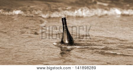 Bottle In The Ocean With A Secret Message