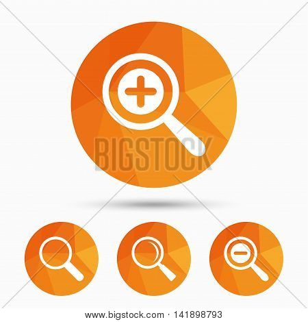 Magnifier glass icons. Plus and minus zoom tool symbols. Search information signs. Triangular low poly buttons with shadow. Vector