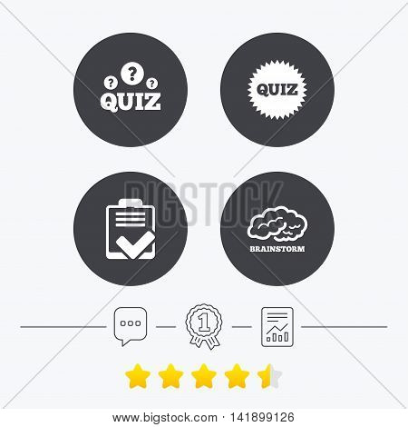 Quiz icons. Brainstorm or human think. Checklist symbol. Survey poll or questionnaire feedback form. Questions and answers game sign. Chat, award medal and report linear icons. Star vote ranking. Vector