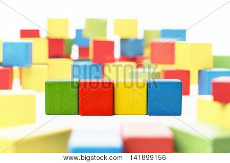 Toy Blocks Cube Four Wood Kids Boxes Blank Multicolor Cubics