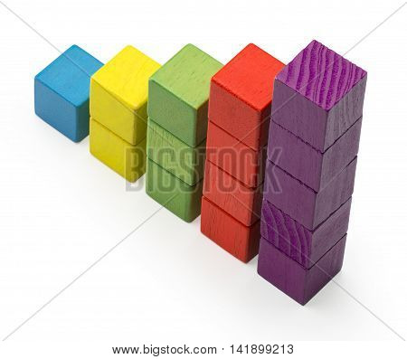 Infographic Stair Chart Bar Children Toy Blocks Increase Info Graphic, Clipping Path