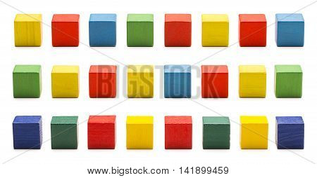 Toy Blocks Wood Cube Bricks Multicolor Wooden Cubic Boxes White Isolated Clipping Path