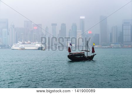 hong kong victoria harbor in the fog,china