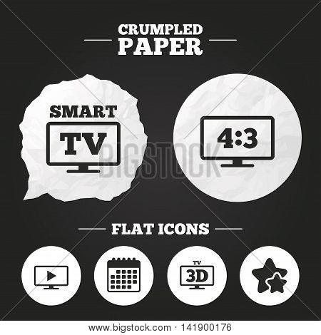 Crumpled paper speech bubble. Smart TV mode icon. Aspect ratio 4:3 widescreen symbol. 3D Television sign. Paper button. Vector