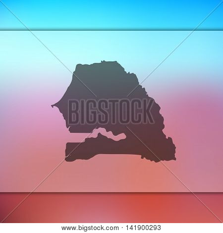 Senegal map on blurred background. Blurred background with silhouette of Senegal. Senegal. Blurred background. Senegal vector map. Senegal flag.