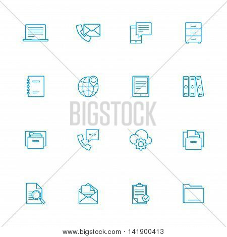 Bussines and officeblue line of icons set of 16