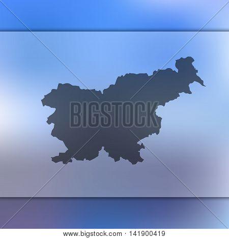 Slovenia map on blurred background. Blurred background with silhouette of Slovenia. Slovenia. Slovenia silhouette. Slovenia vector map. Slovenia flag.