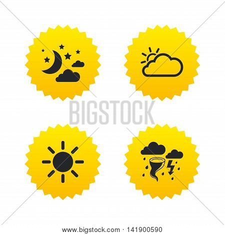 Weather icons. Moon and stars night. Cloud and sun signs. Storm or thunderstorm with lightning symbol. Yellow stars labels with flat icons. Vector