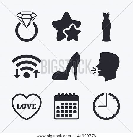Wedding slim dress icon. Women's shoe and love heart symbols. Wedding or engagement day ring with diamond sign. Wifi internet, favorite stars, calendar and clock. Talking head. Vector