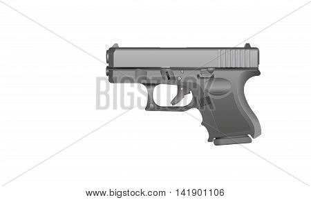 An illustration of a grey metal handgun on a white background. Image includes gradients.