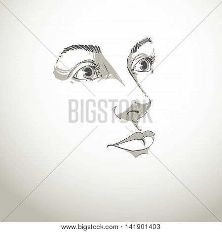 Hand-drawn art portrait of white-skin romantic woman silhouette of woman face.