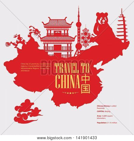 China travel vector illustration with chinese map. Chinese set with architecture, food, costumes, traditional symbols in vintage style. Chinese text means China