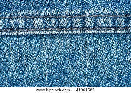 Blue denim jeans texture with seam textile background