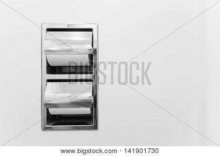 Bathroom tissue paper holder double set in stainless steel
