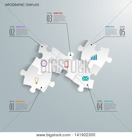 Info graphic with design white puzzle template vector eps 10