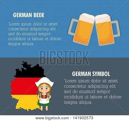 Beer Oktoberfest flag girl cartoon costume icon. Germany. Colorfull illustration
