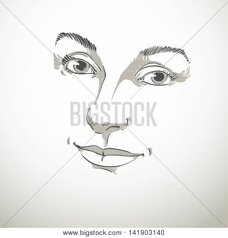 Vector art drawing portrait of gorgeous happy smiling girl isolated on white.