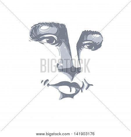 Portrait of delicate good-looking dreamy still woman black and white vector drawing.