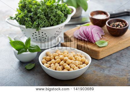 Cooking with kale and chickpeas - ingredients on the table