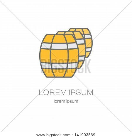 Wooden barrels line logo. Beer or wine logo design templates for all kinds of beer-related companies.