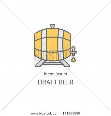 Wooden barrel with a tap line icon. Beer or wine logo design templates for all kinds of beer-related companies. Line vector collection of beer and brewing process.