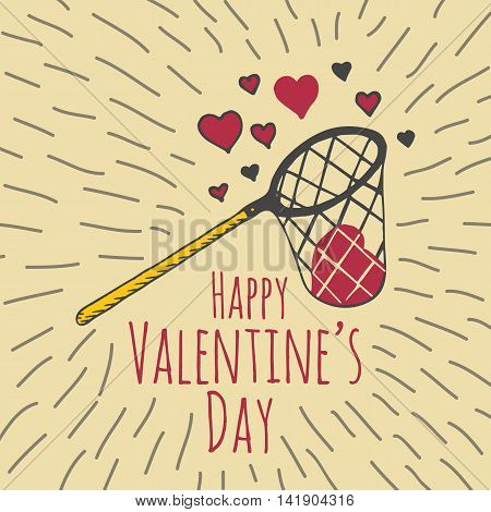 Valentines Day card with illustrated scoop-net and hearts. Vector illustrated colorful scoop-net with heart on beige background.
