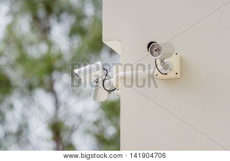 Close Circuit Television On the walls of buildings (CCTV) Security Camera