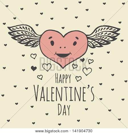 Valentines Day card with illustrated Heart with wings. Vector illustrated colorful smiling heart with wings on beige background.