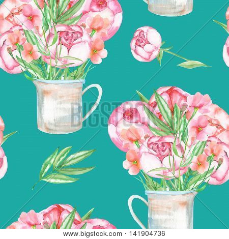 A seamless pattern with the red peonies flowers in a rustic jar, hand drawn in a watercolor on a turquoise background